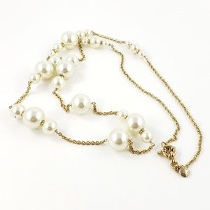 J. Crew Sweater Necklace Pearls + Gold Tone Chain